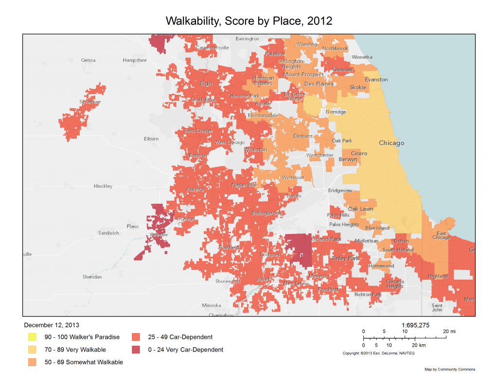 map of walkability scores in Chicago area