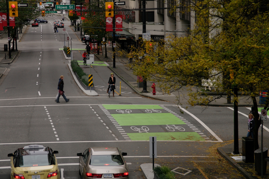 Separated bike lanes. Vancouver. photo credit:  Paul Krueger under a Creative Commons license.