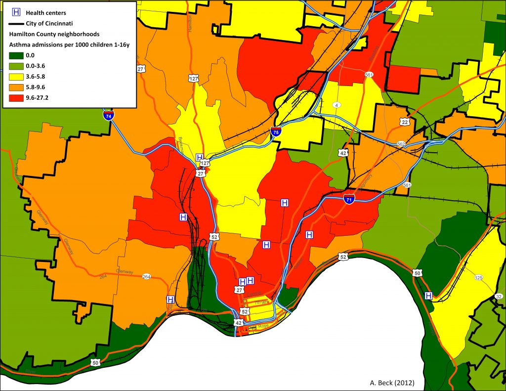 Asthma admissions per 1000 children. map credit: Cincinnati Children's Hospital. Maps like this create a visual that helps policy makers understand where needs are greatest.
