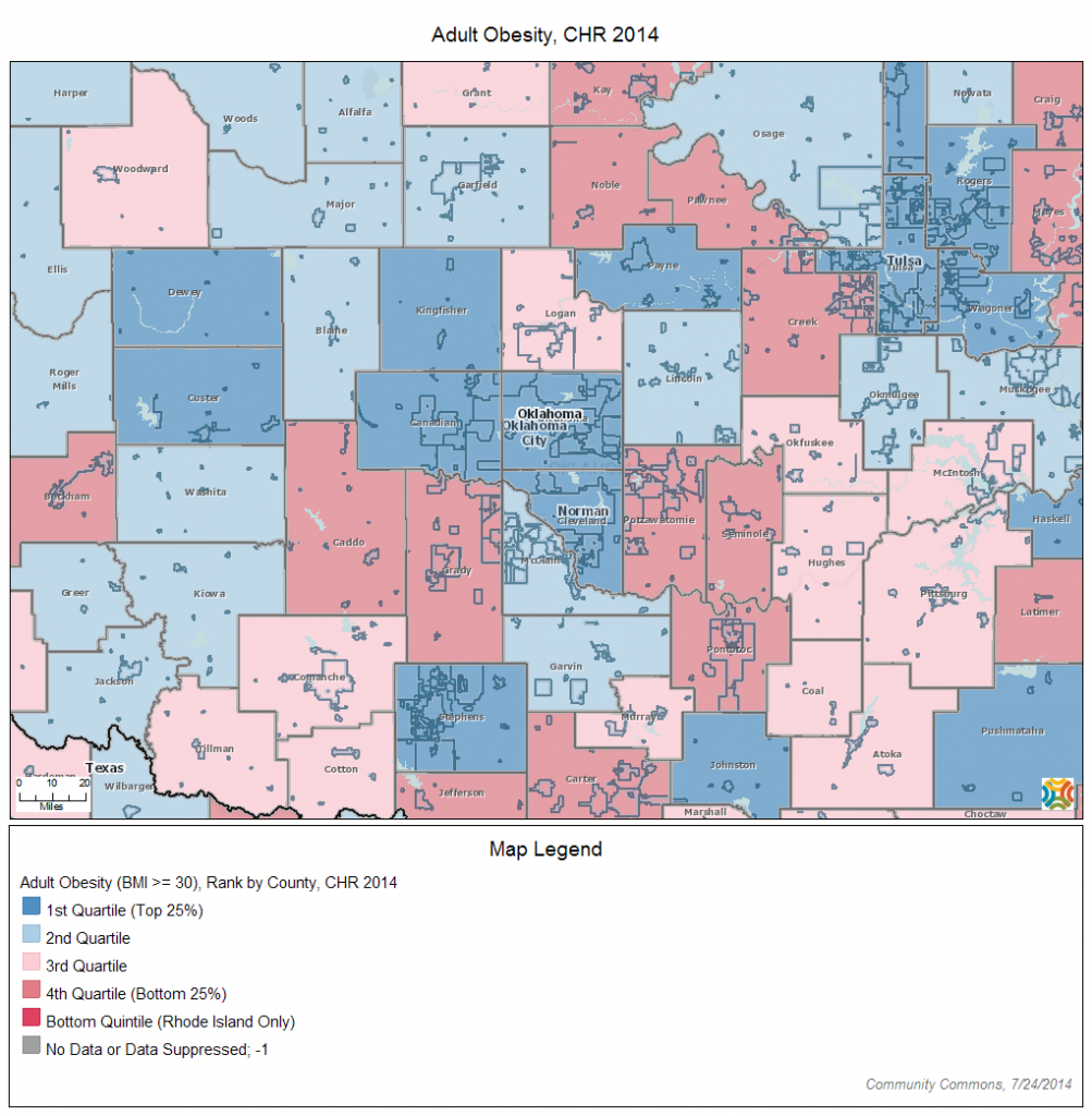 """How did Oklahoma City go from being called """"one of the fattest cities in America"""" to a top quartile County Health Ranking? Click on the map to zoom to your own community to see where you rank."""