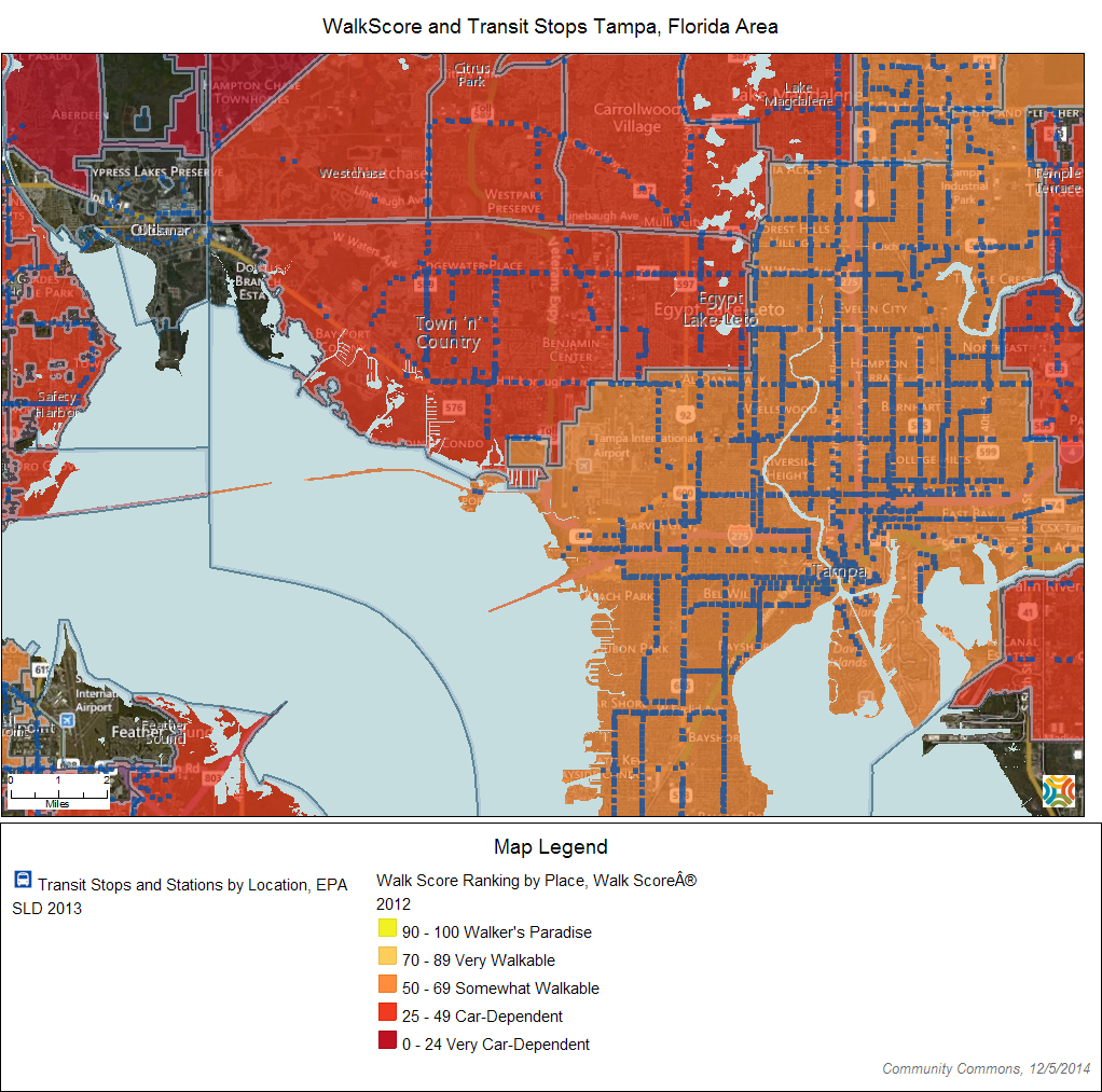 WalkScore data and transit locations show how difficult or easy it is to travel by walking. Click on the interactive map to see this data for your community.