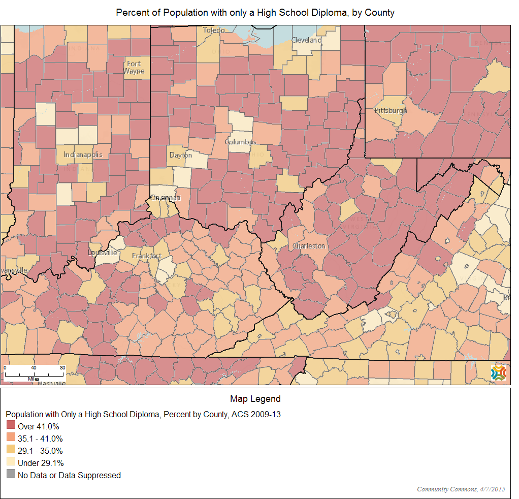 Percent of Population with only a High School Diploma, by County