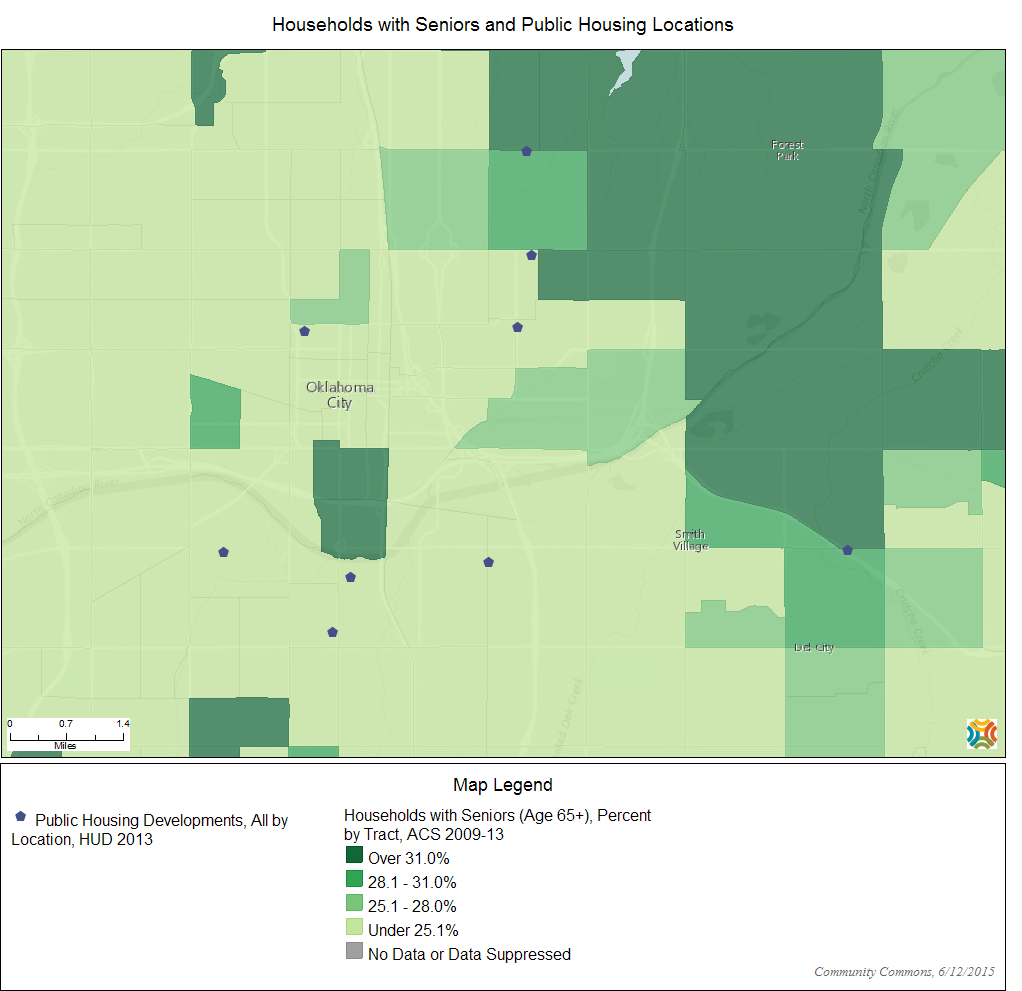 Use the Community Commons Map Room to look at the percentage of households with seniors and public housing locations. Use the Map Room to zoom anywhere in the United Staes.