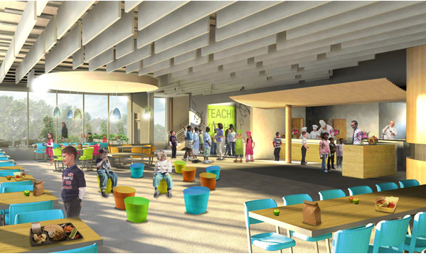 Artist rendering of open kitchen and co-located teaching kitchen for upper and lower elementary schools, Dillwyn, Virginia.