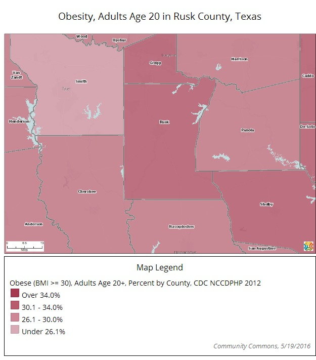 Map - Obesity in Rusk County, Tx