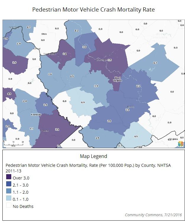 Pedestrian Motor Vehicle Crash Mortality Rate Map