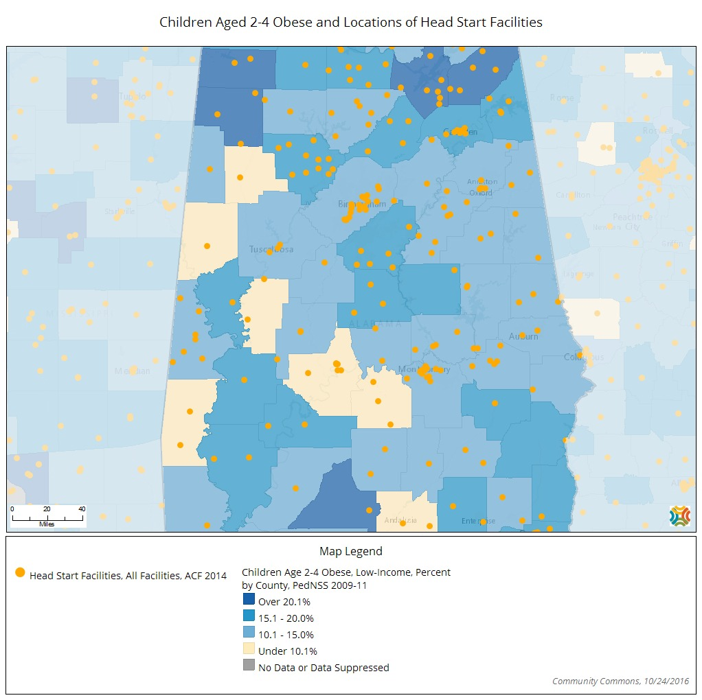 headstart and obesity maps