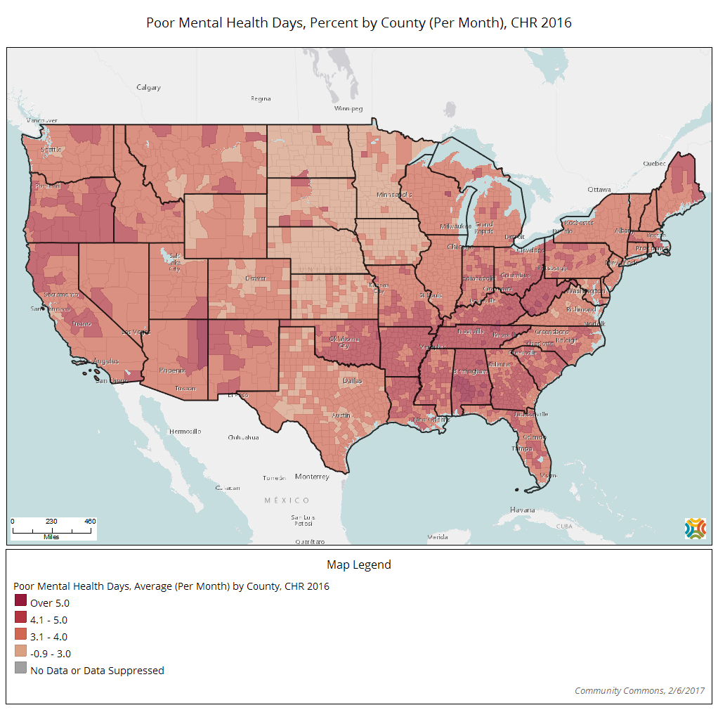 poor-mental-health-days-percent-by-county-per-month-chr-2016
